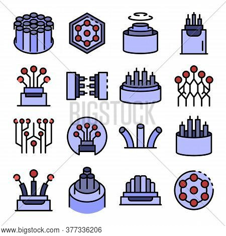 Optical Fiber Icons Set. Outline Set Of Optical Fiber Vector Icons Thin Line Color Flat On White