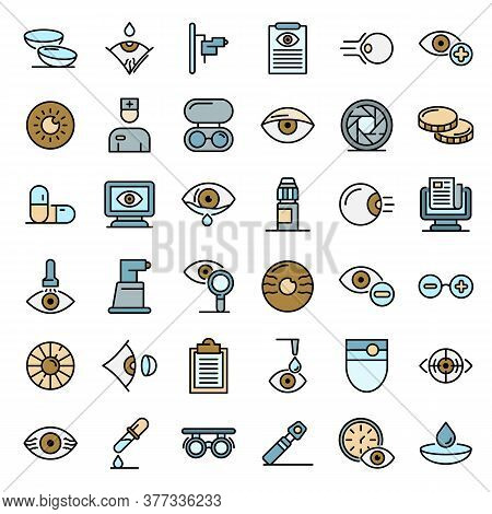Eye Examination Icons Set. Outline Set Of Eye Examination Vector Icons Thin Line Color Flat On White