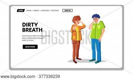 Dirty Breath From Human Unhygienic Mouth Vector