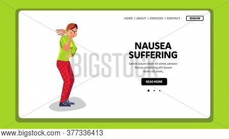 Nausea Suffering And Vomiting Sick Woman Vector