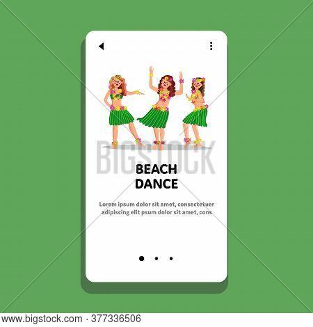 Beach Dance Dancing Beautiful Young Women Vector