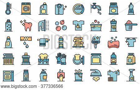 Bleach Icons Set. Outline Set Of Bleach Vector Icons Thin Line Color Flat On White
