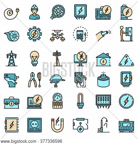 Electrician Service Icons Set. Outline Set Of Electrician Service Vector Icons Thin Line Color Flat