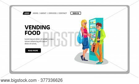 Vending Food And Drinks Automatic Machine Vector