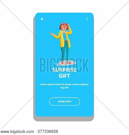 Surprise Gift Happy Shocked Emotion Woman Vector