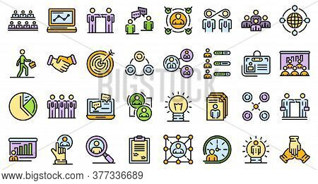 Collaboration Icons Set. Outline Set Of Collaboration Vector Icons Thin Line Color Flat On White