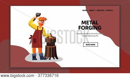 Metal Forging Blacksmith Worker Hammer Tool Vector