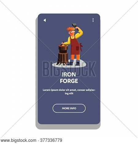 Iron Forge Worker With Hammer Instrument Vector