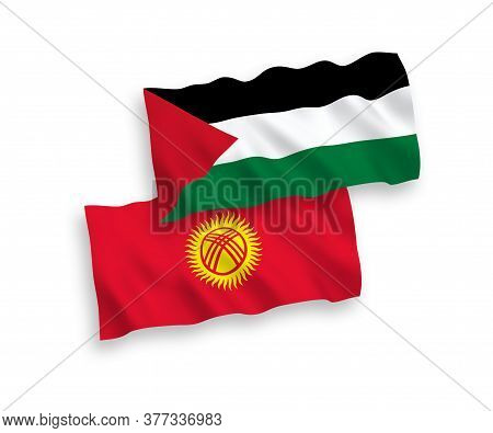 National Fabric Wave Flags Of Kyrgyzstan And Palestine Isolated On White Background. 1 To 2 Proporti