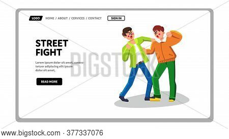 Street Fight Men Aggressive Battle Conflict Vector