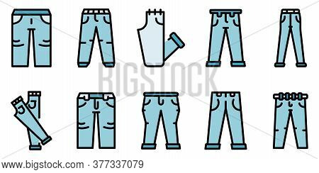 Jeans Icons Set. Outline Set Of Jeans Vector Icons Thin Line Color Flat On White