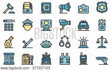 Police Station Icons Set. Outline Set Of Police Station Vector Icons Thin Line Color Flat On White