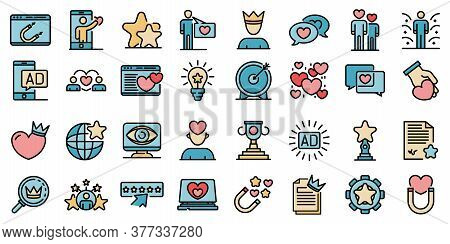 Engaging Content Icons Set. Outline Set Of Engaging Content Vector Icons Thin Line Color Flat On Whi