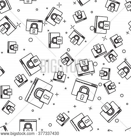 Black Line Secure Your Site With Https, Ssl Icon Isolated Seamless Pattern On White Background. Inte