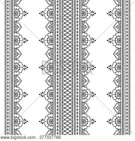 Seamless Borders Pattern For Mehndi, Henna Drawing And Tattoo. Decoration In Ethnic Oriental, Indian