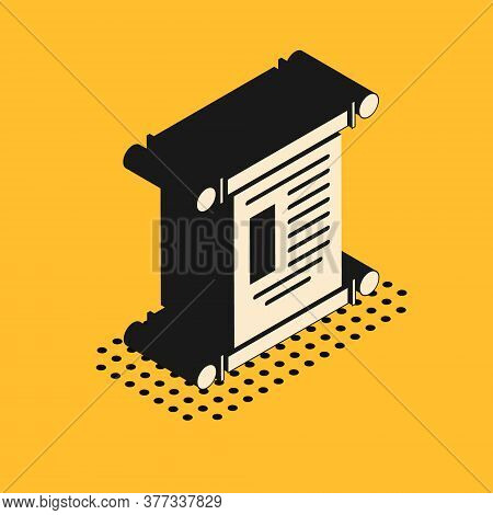 Isometric Decree, Paper, Parchment, Scroll Icon Icon Isolated On Yellow Background. Chinese Scroll.