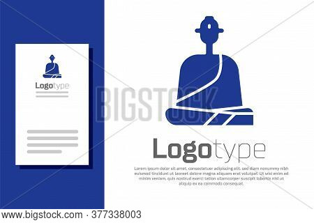 Blue Buddhist Monk In Robes Sitting In Meditation Icon Isolated On White Background. Logo Design Tem
