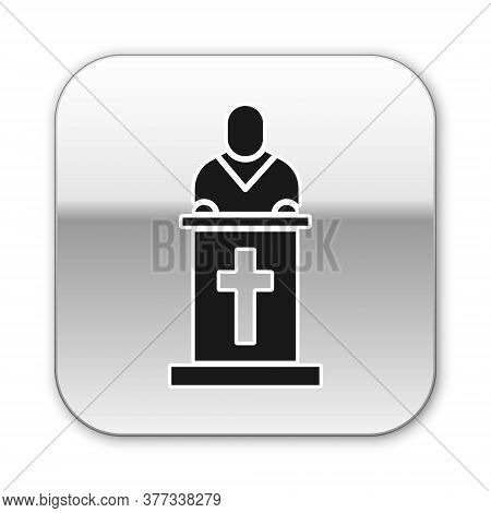 Black Church Pastor Preaching Icon Isolated On White Background. Silver Square Button. Vector Illust