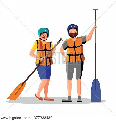 Rafting People Wear Life Vest Hold Paddle Vector