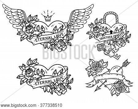 Set Of Heart Tattoos With Roses And Ribbons. Old School. Tattoo Heart Under Lock And Key. Red Heart