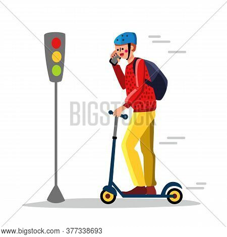 Careless Man Driving Kick Scooter On Street Vector Illustration
