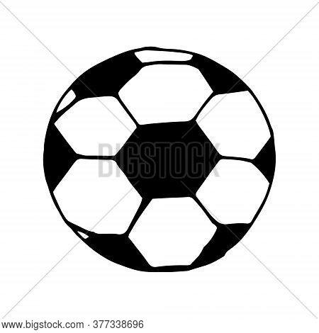 Football Ball Hand Drawn In Doodle Style. Vector, Scandinavian, Monochrome. Single Element For Desig