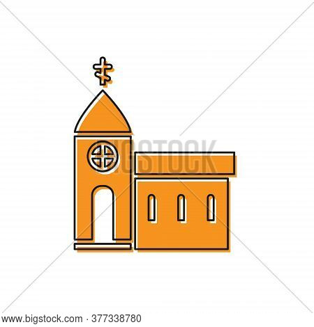 Orange Church Building Icon Isolated On White Background. Christian Church. Religion Of Church. Vect