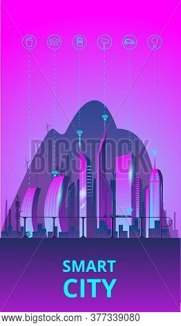 Fantastic Smart City In The Style Of Cyberpunk. Vector Illustration In Retro Style In Neon Colors. N