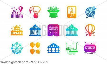 Carousel, Roller Coaster And Circus. Amusement Park Icons. Ferris Wheel Classic Icon Set. Gradient P