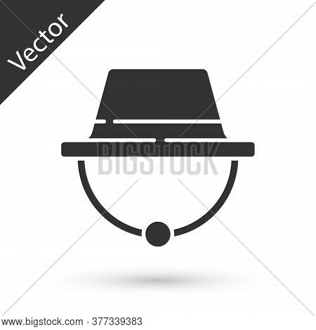 Grey Camping Hat Icon Isolated On White Background. Beach Hat Panama. Explorer Travelers Hat For Hun