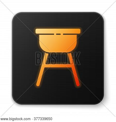 Orange Glowing Neon Barbecue Grill Icon Isolated On White Background. Bbq Grill Party. Black Square
