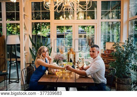 Romantic Candlelit Dinner In A Country House. Honeymoon. Proposal To Marry.