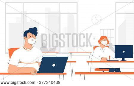 Male And Female Office Workers Wearing Face Mask And Keeping Distances Between Their Workplaces. Bac