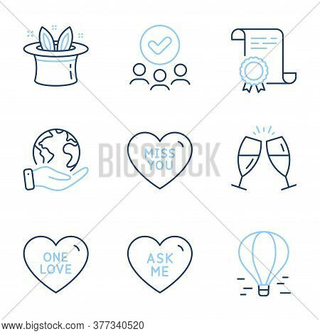 Ask Me, Air Balloon And Miss You Line Icons Set. Diploma Certificate, Save Planet, Group Of People.