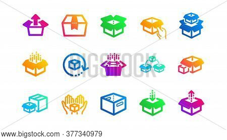 Package, Delivery Boxes, Cargo Box. Box Icons. Cargo Distribution, Export Boxes, Return Parcel Icons