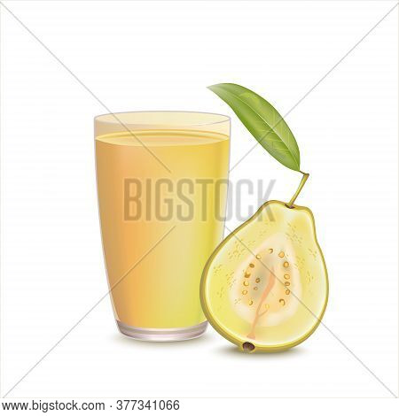 Organic Guava Juice In Glass Cup Isolated On White Background With Fresh Guavas. Tropical Fruit