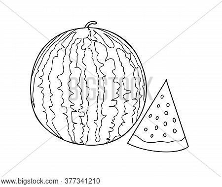 Outline Drawing Of A Watermelon And Slices Of Watermelon Next. Coloring With Watermelon.