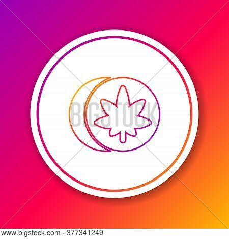 Color Line Herbal Ecstasy Tablets Icon Isolated On Color Background. Circle White Button. Vector Ill