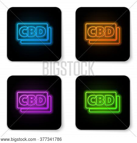 Glowing Neon Cannabis Molecule Icon Isolated On White Background. Cannabidiol Molecular Structures,