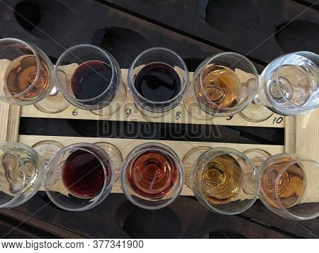 Wine Tasting. Variety Of Wines. Wine Glasses With