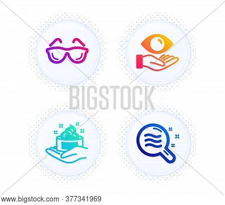 Eyeglasses, Health Eye And Skin Care Icons Simple Set. Button With Halftone Dots. Skin Condition Sig
