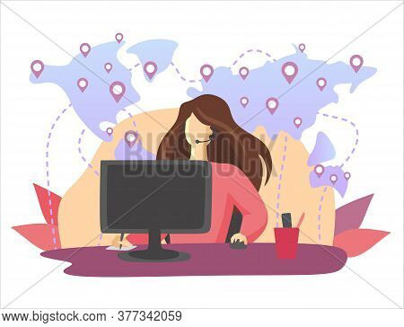 Vector Illustration, Customer Service, Male Hotline Operator Advises Client, Online Global Technical