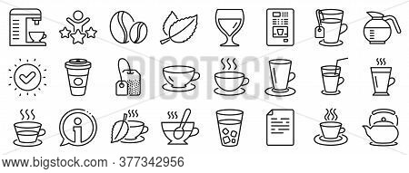 Set Of Cappuccino, Juice With Ice And Latte Coffee Cup Icons. Coffee And Tea Line Icons. Teapot, Cof