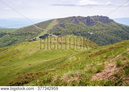 Green Valley Nature Landscape. Mountain Layers Landscape. Summer In Mountain Forest Landscape. Fores