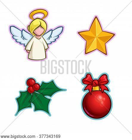 Vector Cartoon Icon Set Of An Angel, A Star, A Holly Mistletoe And A Red Christmas Ball. Illustratio