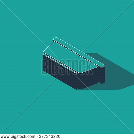Isometric Plastic Basin Icon Isolated On Green Background. Bowl With Water. Washing Clothes, Cleanin