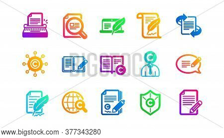 Copyright, Typewriter And Feedback. Copywriting Icons. Legal Content Classic Icon Set. Gradient Patt