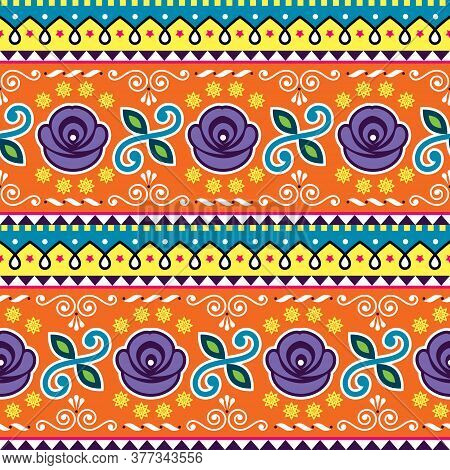 Pakistani Or Indian Jingle Truck Seamless Vector Pattern, Colorful Repetitive Ornament With Flowers