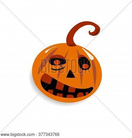Sticker Evil Halloween Funny Pumpkin Isolated Vector