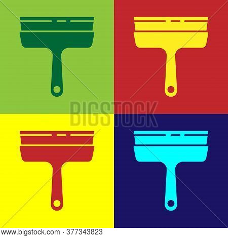 Pop Art Cleaning Service With Of Rubber Cleaner For Windows Icon Isolated On Color Background. Squee